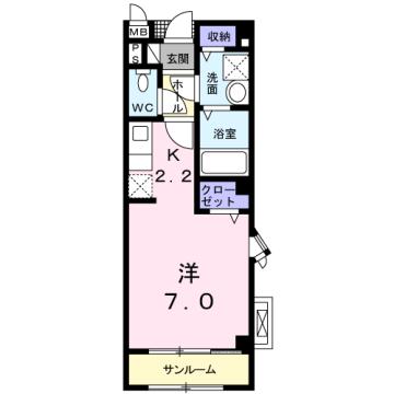 物件番号: 1110309966 アンソレイユB  富山市婦中町速星 1K アパート 間取り図