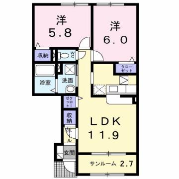 物件番号: 1110310163 アネシス・ルナC 富山市本郷町 2LDK アパート 間取り図