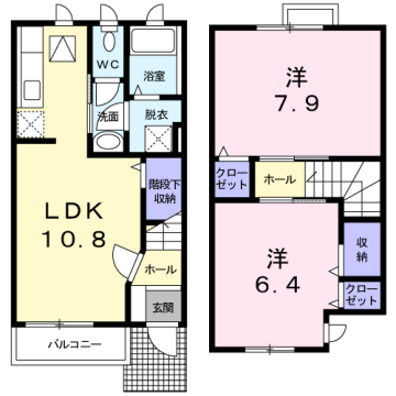 物件番号: 1110310164 ル・シエル 富山市富岡町 2LDK アパート 間取り図