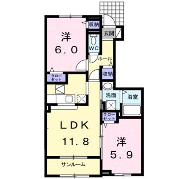 物件番号: 1110309548 シャン・シャトー Ⅰ  富山市四方荒屋 2LDK アパート 間取り図