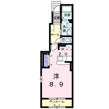 物件番号: 1110309974 ヴィル・フォーレⅣ  富山市本郷町 1K アパート 間取り図