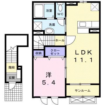 物件番号: 1110309550 サンパティック町村  富山市町村 1LDK アパート 間取り図