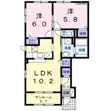 物件番号: 1110309946 ヴィー・ボヌールⅡ 富山市四方 2LDK アパート 間取り図
