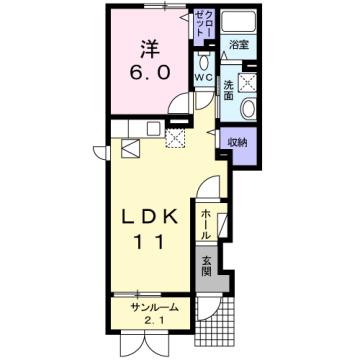 物件番号: 1110309554 グランMIKI 1  富山市清水町8丁目 1LDK アパート 間取り図