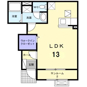物件番号: 1110310040 シャルマン Ⅱ 富山市山室荒屋 1K アパート 間取り図