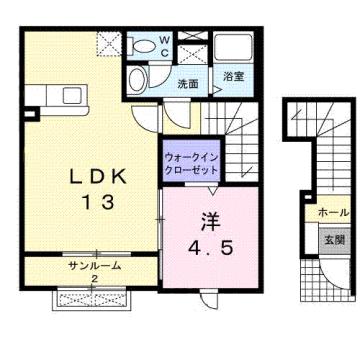 物件番号: 1110309557 シャルマン Ⅱ  富山市山室荒屋 1LDK アパート 間取り図