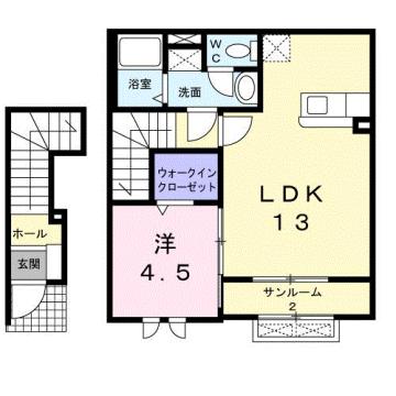 物件番号: 1110310098 シャルマン Ⅱ 富山市山室荒屋 1LDK アパート 間取り図