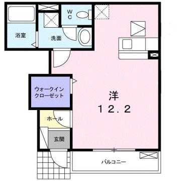 物件番号: 1110309885 第2 レイク ヴィレッジ 富山市常盤台 1K アパート 間取り図