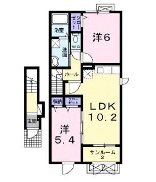 物件番号: 1110309561 ファインハルエールⅤ  富山市婦中町速星 2LDK アパート 間取り図