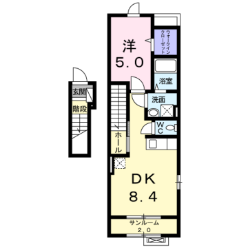 物件番号: 1110309562 リバーサイドL  富山市婦中町速星 1DK アパート 間取り図