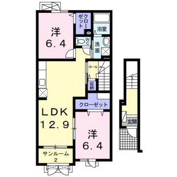 物件番号: 1110309571 メゾンソレイユ  富山市上大久保 2LDK アパート 間取り図
