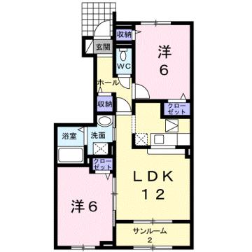 物件番号: 1110309573 リブレ常盤台A  富山市常盤台 2LDK アパート 間取り図