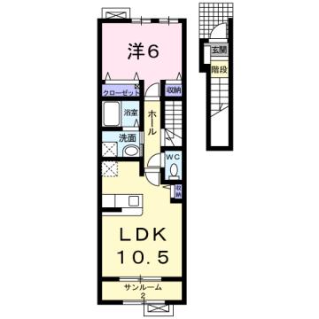 物件番号: 1110309577 ベルフォールⅣ  富山市常盤台 1LDK アパート 間取り図