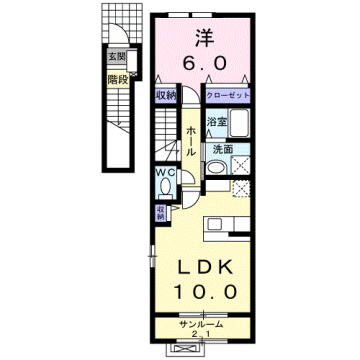 物件番号: 1110309578 ベルフォールⅣ  富山市常盤台 1LDK アパート 間取り図