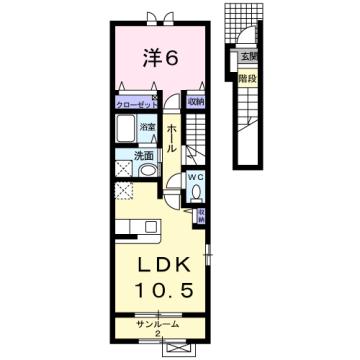物件番号: 1110310237 サニーⅠ 富山市常盤台 1LDK アパート 間取り図