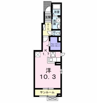 物件番号: 1110309586 フローレン  富山市天正寺 1K アパート 間取り図