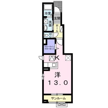物件番号: 1110309595 フランシーズ  富山市下堀 1K アパート 間取り図