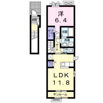物件番号: 1110310238 フランシーズ 富山市下堀 1LDK アパート 間取り図