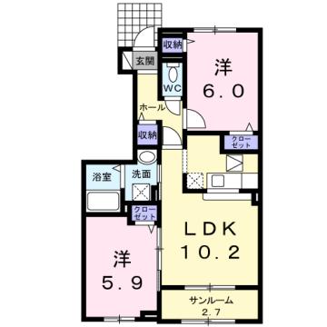 物件番号: 1110309598 アッシュ8 B  富山市荒川常盤台 2LDK アパート 間取り図