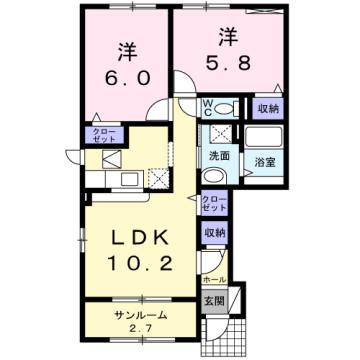 物件番号: 1110310067 ドゥ・ファミーユC 富山市荒川常盤台 2LDK アパート 間取り図