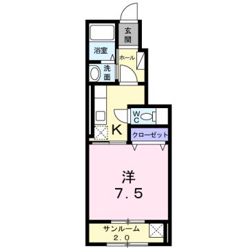 物件番号: 1110310176 パームハイムⅡ 富山市荒川常盤台 1K アパート 間取り図
