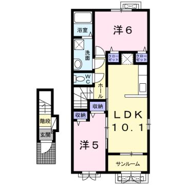 物件番号: 1110309613 フェリーチェ・優  富山市新庄北町 2LDK アパート 間取り図