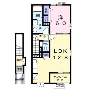 物件番号: 1110309615 カーサ オリージャ  富山市水橋肘崎 1LDK アパート 間取り図