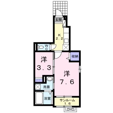 物件番号: 1110309617 サニースクエアB 富山市新庄北町 1K アパート 間取り図