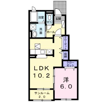 物件番号: 1110309915 ヴェスト・ベルク D  富山市下大久保 1LDK アパート 間取り図
