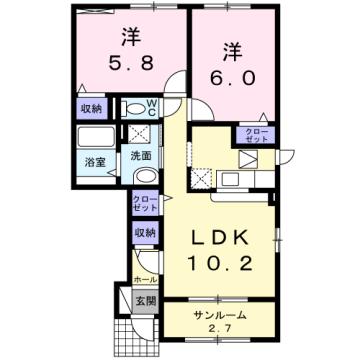 物件番号: 1110309620 アヴェニール  富山市開 2LDK アパート 間取り図