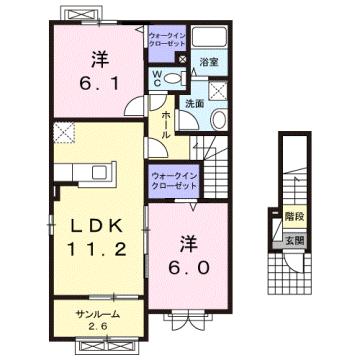 物件番号: 1110310252 ヴァン・グラースⅠ 富山市米田町1丁目 2LDK アパート 間取り図