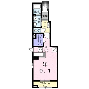 物件番号: 1110310047 メゾン・プルミエール 富山市赤田 1K アパート 間取り図