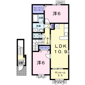 物件番号: 1110310253 YS ソレイユA 富山市赤田 2LDK アパート 間取り図