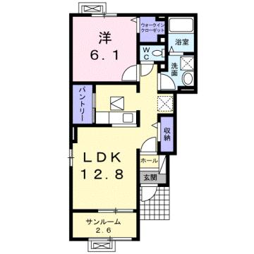 物件番号: 1110310112 プルミエール手屋 富山市手屋1丁目 1LDK アパート 間取り図