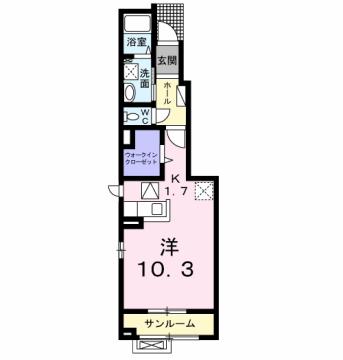物件番号: 1110309889 ヴィラノールH  富山市太田 1K アパート 間取り図