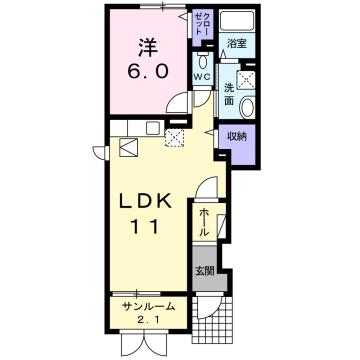 物件番号: 1110309646 フェリオ  富山市婦中町蔵島 1LDK アパート 間取り図