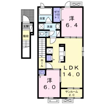 物件番号: 1110309650 アルモニーB  富山市赤田 2LDK アパート 間取り図
