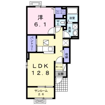 物件番号: 1110309655 ニューバンブスⅡA  富山市一本木 1LDK アパート 間取り図