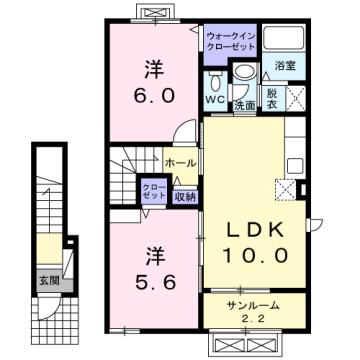 物件番号: 1110310195 カンパーニャⅠ 富山市八尾町福島7丁目 2LDK アパート 間取り図