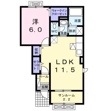物件番号: 1110309657 カンパーニャⅡ  富山市八尾町福島7丁目 1LDK アパート 間取り図