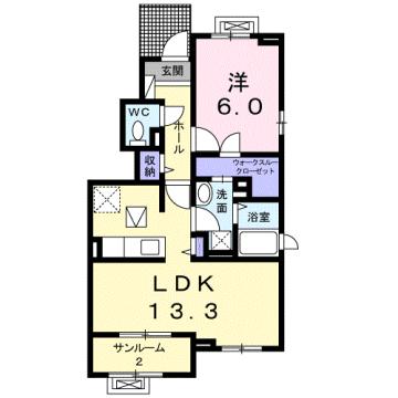 物件番号: 1110309659 ベル・ハートB  富山市天正寺 1LDK アパート 間取り図