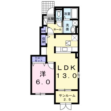 物件番号: 1110309922 ヴィントプラッツⅠ 富山市中川原 1LDK アパート 間取り図