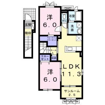 物件番号: 1110309950 ヴィントプラッツⅠ  富山市中川原 2LDK アパート 間取り図