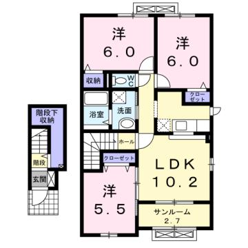 物件番号: 1110309964 ヴィー・ボヌールⅢ  富山市向新庄町1丁目 3LDK アパート 間取り図