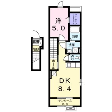 物件番号: 1110309662 ボールルーム  富山市藤木 1DK アパート 間取り図
