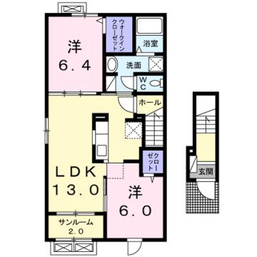 物件番号: 1110310000 Cuore 富山市婦中町中名 2LDK アパート 間取り図