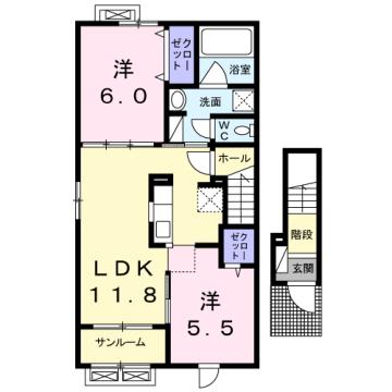 物件番号: 1110309668 フェリーチェ向新庄  富山市向新庄町4丁目 2LDK アパート 間取り図