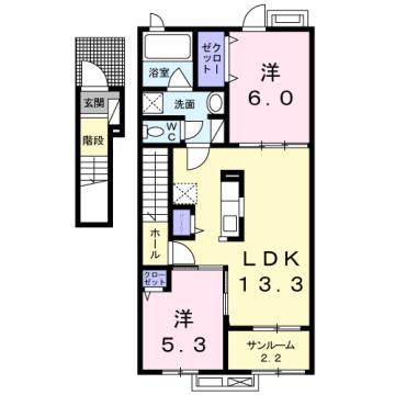 物件番号: 1110309673 リトル・スィーダーⅠ  富山市小杉 2LDK アパート 間取り図