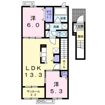 物件番号: 1110309677 リトル・スィーダーⅡ  富山市小杉 2LDK アパート 間取り図