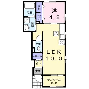 物件番号: 1110310117 ディーヴァ本郷 富山市本郷町 1LDK アパート 間取り図